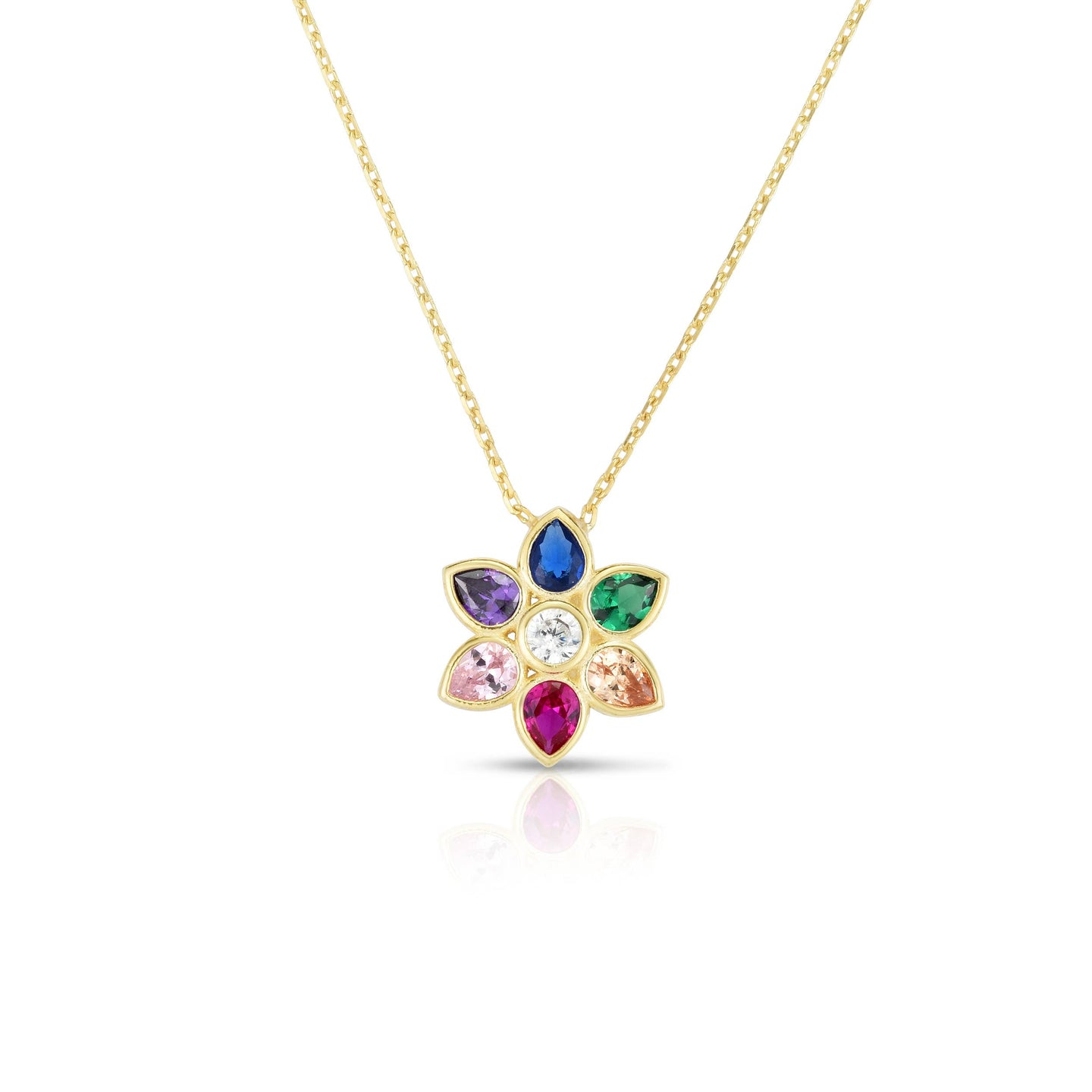 Milanesi And Co Gold Plated Rainbow Flower Necklace