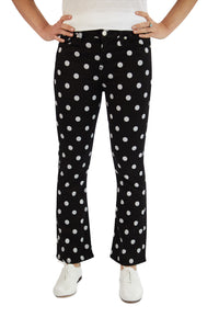 7 for all Mankind High Waist Slim Kick - Black & White Polka Dot