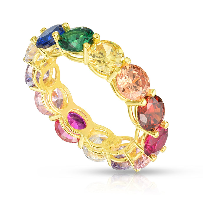 Milanesi And Co - 18k Yellow Gold Plated Sterling Silver Rainbow Eternity Band