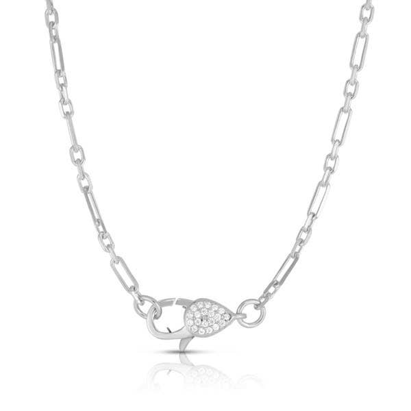 Milanesi And Co - 14k White Gold Plated Sterling Silver Pave Clasp Necklace