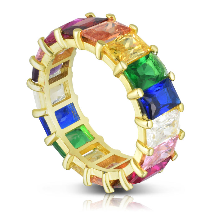 Milanesi And Co - 18k Gold Plated Sterling Silver Rainbow Band Ring