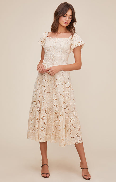 ASTR Te Amo Eyelet Midi Dress - Natural