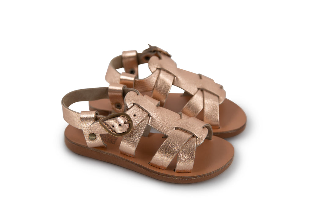 Ancient Greek Sandals Little Leonidas Soft - Pink Metal/Sand