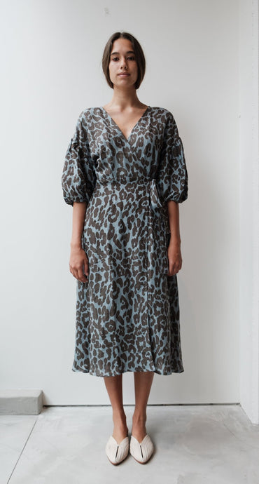 At Dawn Linen Puff Sleeve Wrap Dress - Leopard (2 Color Options)