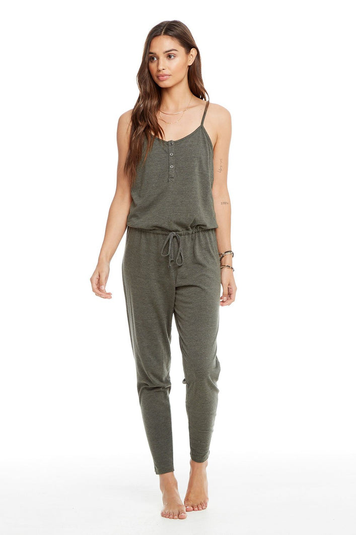 Chaser Triblend Scoop Back Drawstring Waist Henley Jumpsuit