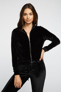 Chaser Strech Velvet Mock Neck Zip Up Track Jacket - Black