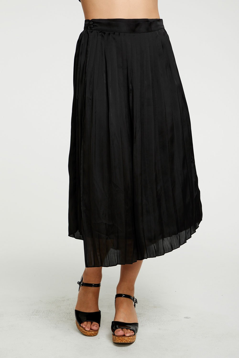 Chaser Silky Basics Pleated Asymmetrical Wrap Midi Skirt - Black