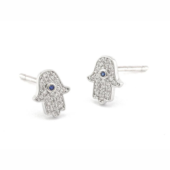 Tai Pave Mini Hamsa Earrings - Silver