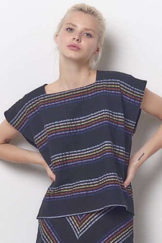Corey Lynn Calter Tina Square Neck Top - Stripe