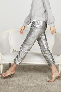 David Lerner James Sequin Jogger - Silver