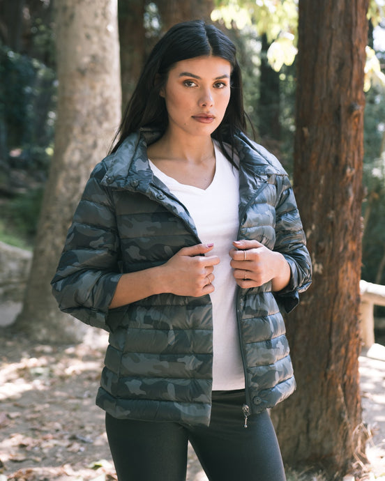 Anorak Crop Sleeve Puffer Jacket - Black Camo