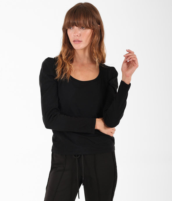 Pam & Gela Scoop Long Puff Sleeve Tee - Black
