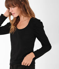 Load image into Gallery viewer, Pam & Gela Scoop Long Puff Sleeve Tee - Black