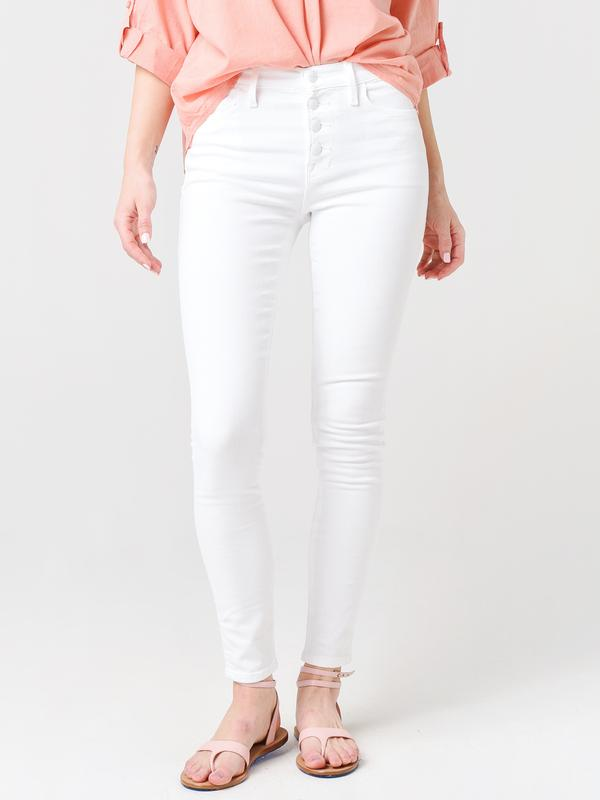 FRAME Le High Skinny Exposed Buttons - Blanc