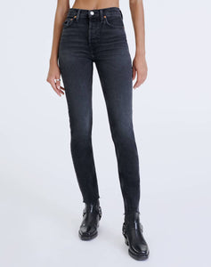 RE/DONE Comfort Stretch High Rise Ankle Crop - Faded Coal