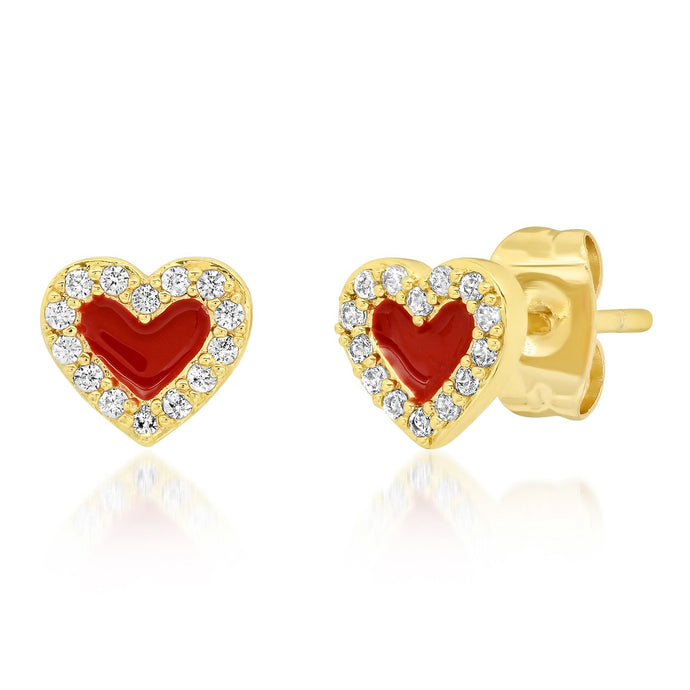 Tai Heart-Shaped Enamel & CZ Studs - 2 Colors