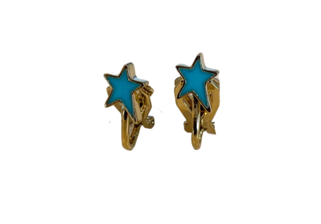 Rosie Bold Shana Enamel Star Clip Earrings (Gold and Silver)