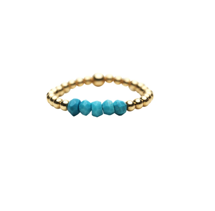 Karen Lazar Ring 2MM with Gemstone - Turquoise