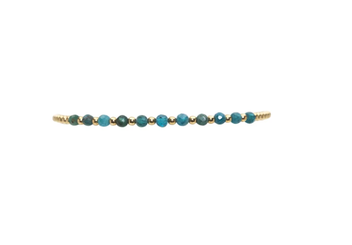 Karen Lazar 2MM Bracelet with Gemstones - APATITE GOLD PATTERN