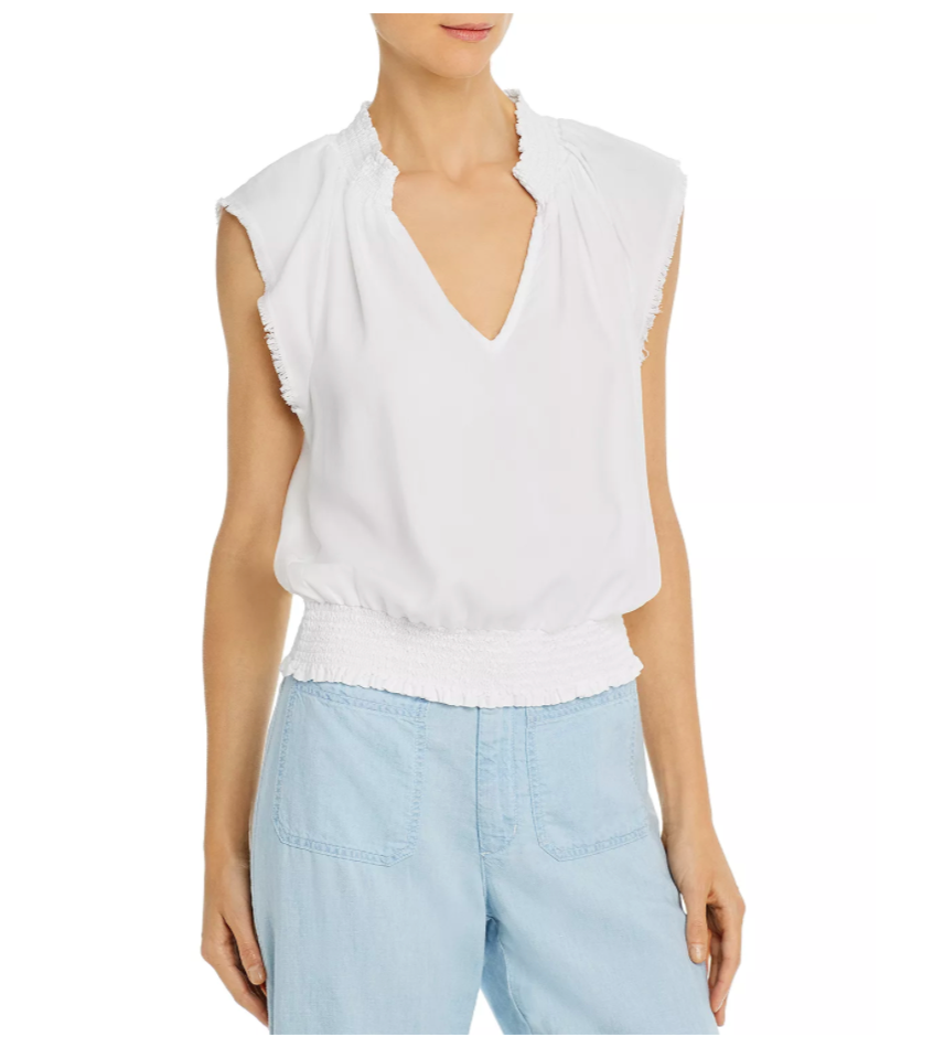 Bella Dahl Smocked Tie Waist Top - White