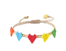 Load image into Gallery viewer, Mishky Multi Heart Row Bracelet - 3 Colors