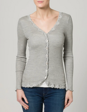 Load image into Gallery viewer, Rosemunde Regular Vintage Lace Silk Cardigan - Light Grey