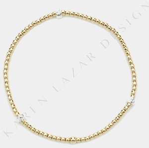Karen Lazar 2MM Yellow Gold w/ Sterling Silver Rondelle Pattern
