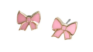 Rosie Bold Jill Enamel Bow Pierced Stud Earrings (Gold, Silver and Rose Gold)
