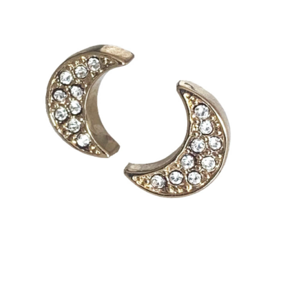 Rosie Bold Mandy Clear Crystal Moon Pierced Stud Earrings (Gold, Silver and Rose Gold)