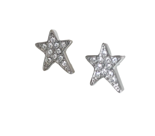 Rosie Bold Shana Large Clear Crystal Star Pierced Stud Earrings (Gold, Silver, Rose Gold)