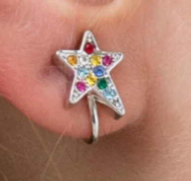 Rosie Bold Shana Large Rainbow Crystal Star Clip Earrings (Gold and Silver)