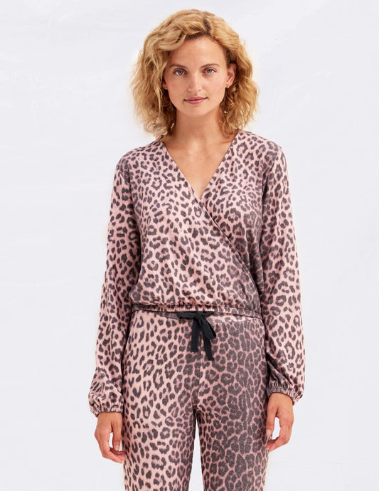 Sundry Animal Print Crossover Sweater - Pink