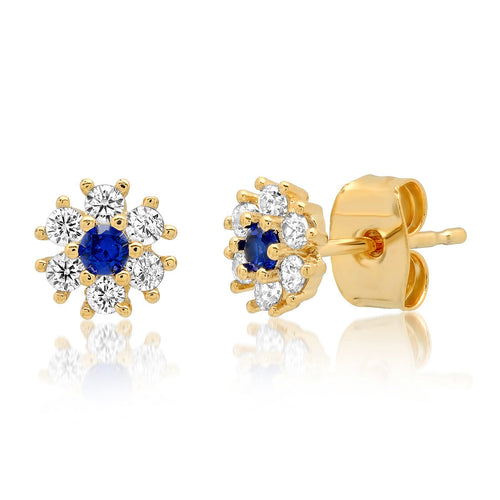 Tai CZ Flower Stud w/Jewel Tone Center Stone - Sapphire