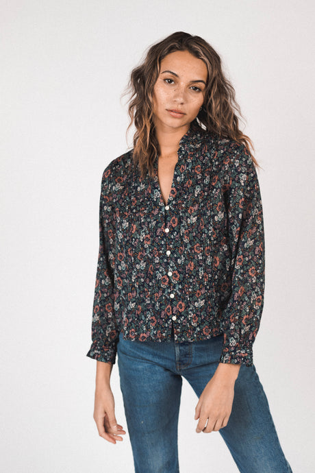 Trovata Finley Pintuck Blouse - Woodland Floral
