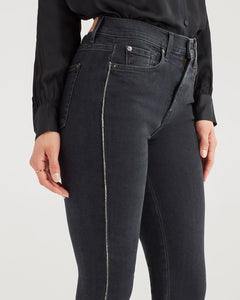 7 For All Mankind Luxe Vintage High Waist Ankle Skinny w/Snake Piping - Moon Shadow