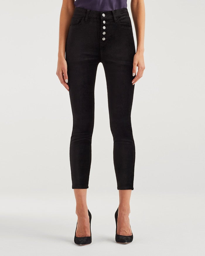 7 For All Mankind High Waist Ankle Skinny - Black Velvet