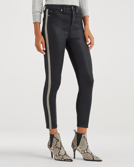 7 For All Mankind B(air) High Waist Ankle Skinny w/White Snake Side Stripe in Coated Black