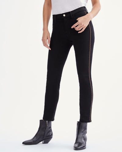 7 For All Mankind Slim Illusion Ankle Skinny w/Chain Trim - Black