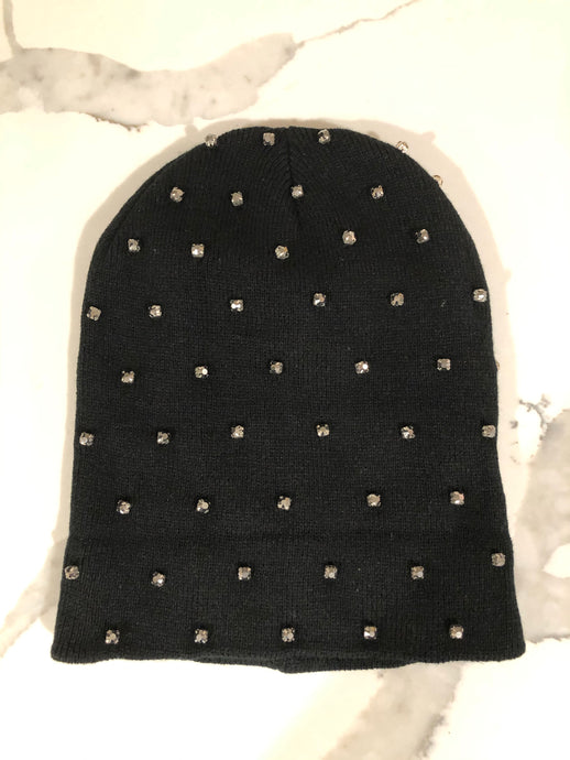 Bits & Pieces Black Beanie - Grey Stones