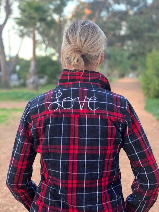 I Am My Story Hand Embroidered Long Sleeve Flannel Plaid Shirt - Love