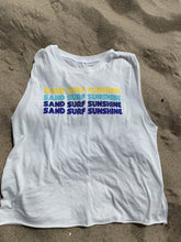 Load image into Gallery viewer, I AM MY STORY Ruched Shoulder Muscle Tank - Sand, Surf, Sunshine