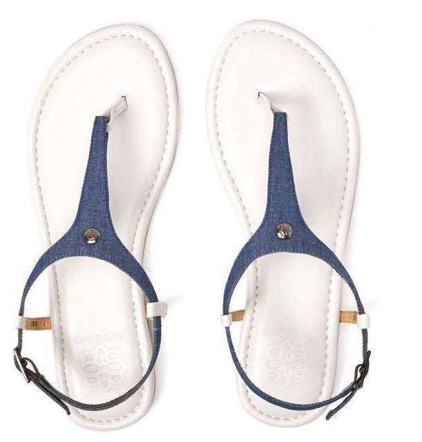 Cambiami White Sandal w/Chambray