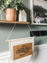 Load image into Gallery viewer, Wood Faith Over Mountains + Canvas Pennant