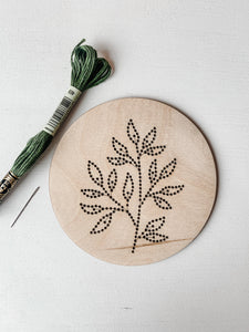 Green Leaves Embroidery Kit