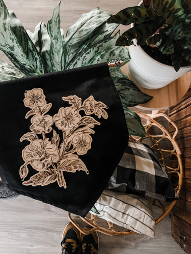 Wood Floral + Black Canvas Pennant