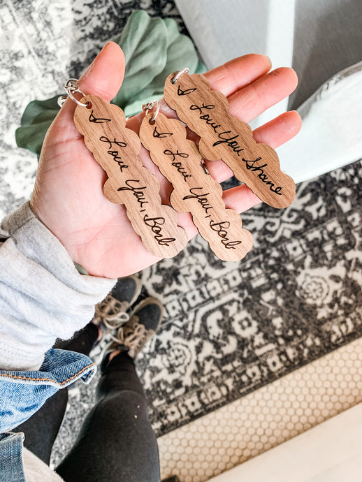 Personalized/custom Walnut Keychains