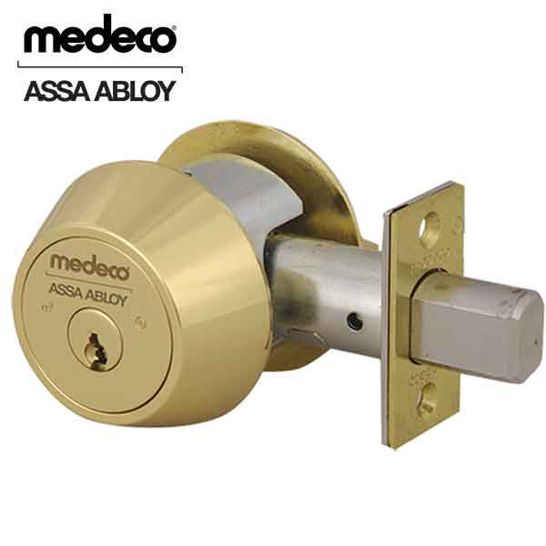 Medeco Maxum Commercial BiAxial - Double Deadbolt - 05  -Bright Brass