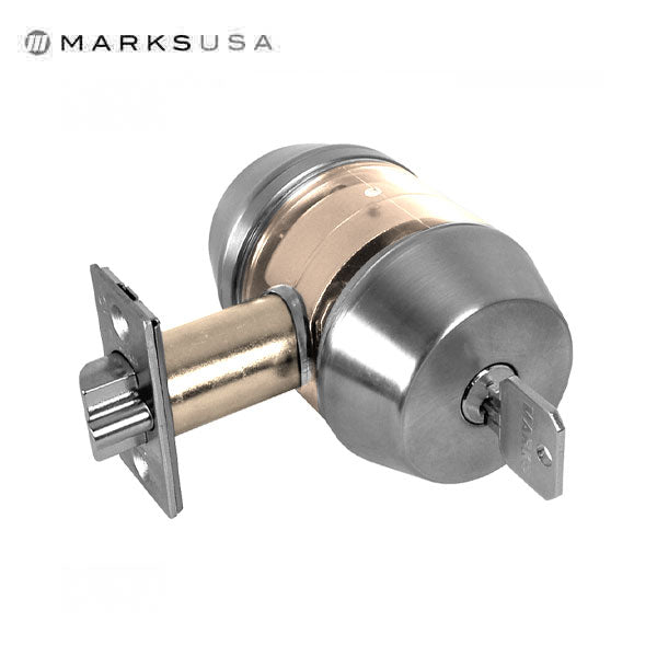 "Marks USA -145M - Commercial Deadlatch - Dbl Cylinder- 2 3/8"" Backset - 32D - Satin Stainless - Grade 1"