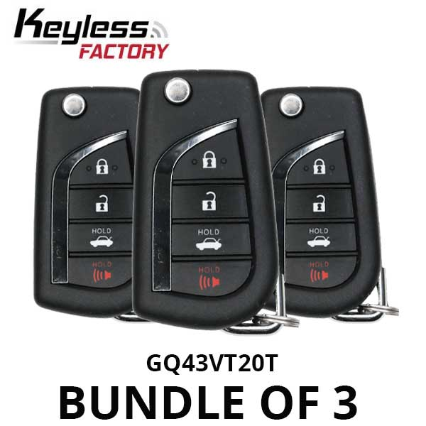 2015-2017 Toyota Sienna Tundra Tacoma / 4-Button Flip Key / GQ43VT20T (H Chip) (BUNDLE OF 3)