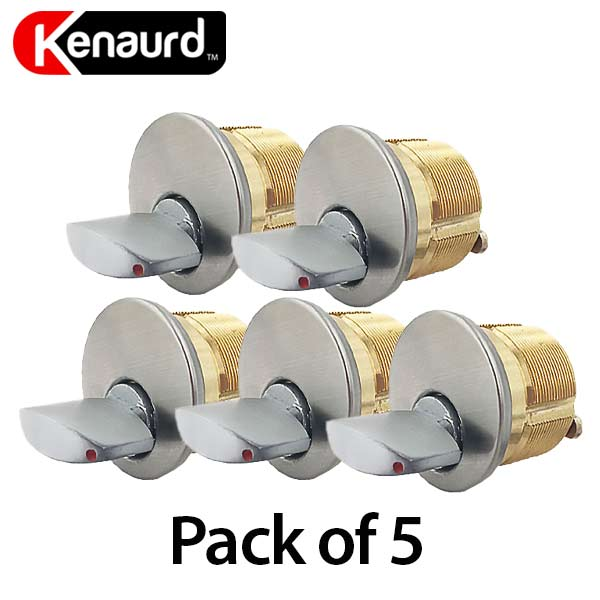 "5 x Premium Thumb-Turn Mortise Cylinder - 1"" - 26D - Satin Chrome (Bundle of 5)"